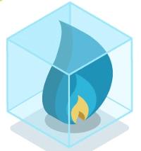 A blue gas flame in a transparent box