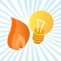 An electricity lightbulb and gas flame on a blue and white background