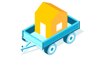 A small house on a cart